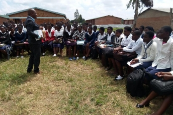 ABE Malawi Area Manger talking to secondary students across Africa